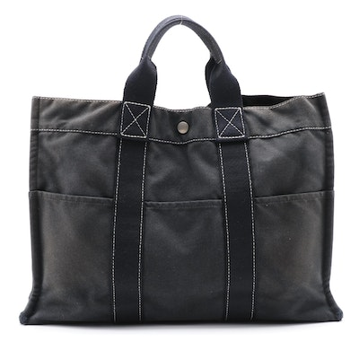 Hermès Fourre Tout GM Black Cotton Canvas Tote