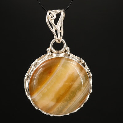 Sterling Silver Agate Circular Pendant