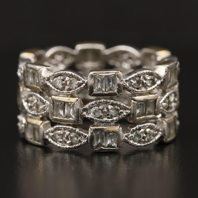 Sterling Silver Cubic Zirconia Triple Row Band