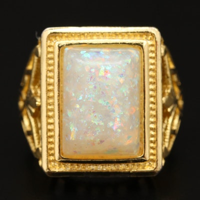 Sterling Silver Faux Opal Ring with Openwork Shoulders