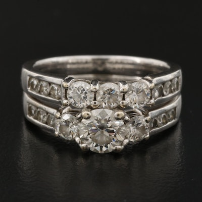 18K 1.67 CTW Diamond Wedding Ring Set with GIA Report