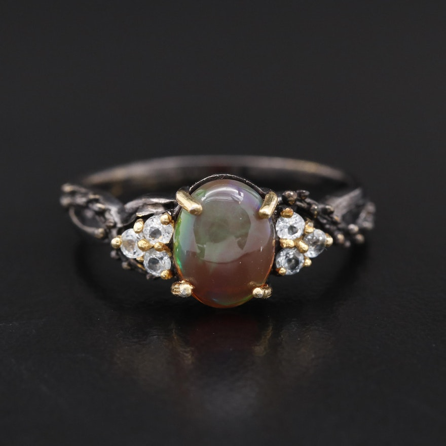 Sterling Silver Opal and Aquamarine Vine Motif Ring