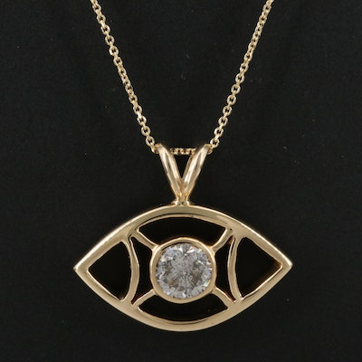 14K 1.02 CT Diamond Eye Pendant Necklace