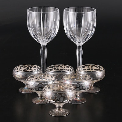 Marquis by Waterford Crystal Goblets and Silver Embellished Dessert Glasses