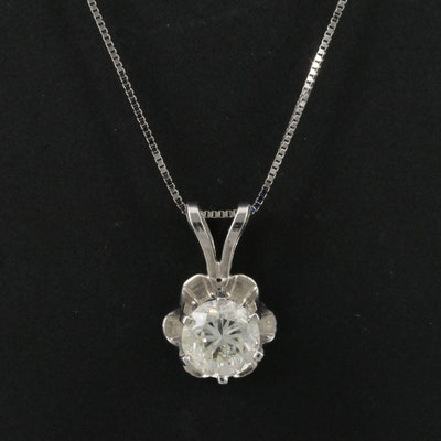 14K Buttercup Set 0.91 CT Diamond Pendant Necklace