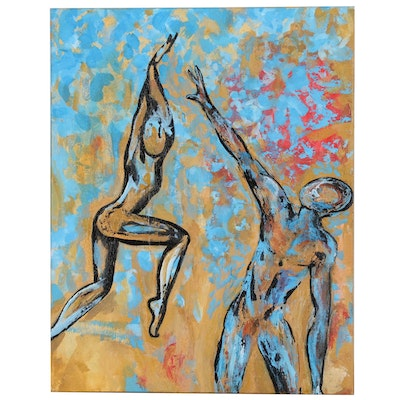 Zanne Christensen Acrylic Painting of Dancing Figures, 1988