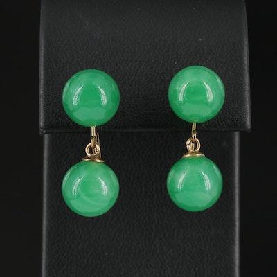 14K Green Glass Dangle Earrings