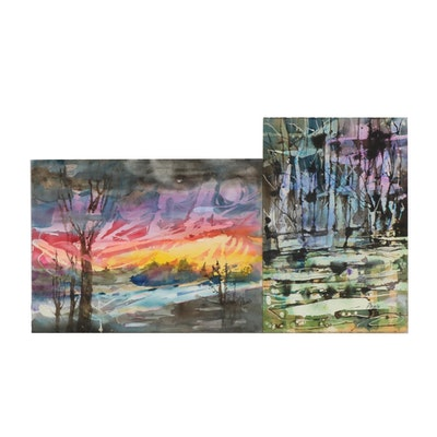 Phiris Kathryn Sickels Abstract Landscape Watercolor Paintings