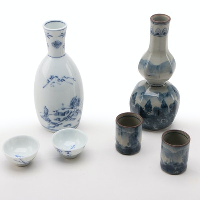 Japanese Porcelain and Ceramic Sake Sets