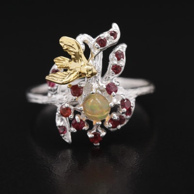 Sterling Silver Garnet and Opal Ring Featuring Flora and Fauna Design