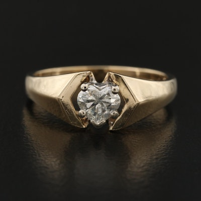 14K 0.50 CT Diamond Heart Shaped Ring