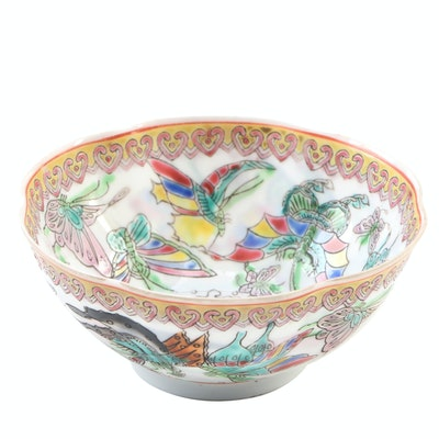 Porcelain Hand-Painted Scalloped Rice Bowl with Presentation Box