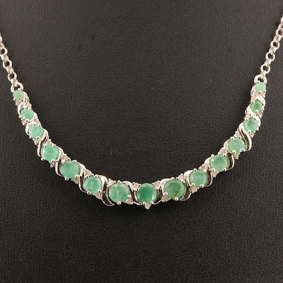 Sterling Beryl and Diamond Necklace