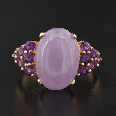 14K Jadeite and Amethyst Ring
