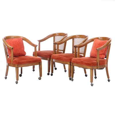 Four Chaircraft Inc. Caned and Upholstered Tub Chairs, Mid to Late 20th Century