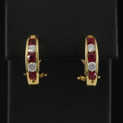18K Channel Set Ruby and Diamond J Hoop Earrings