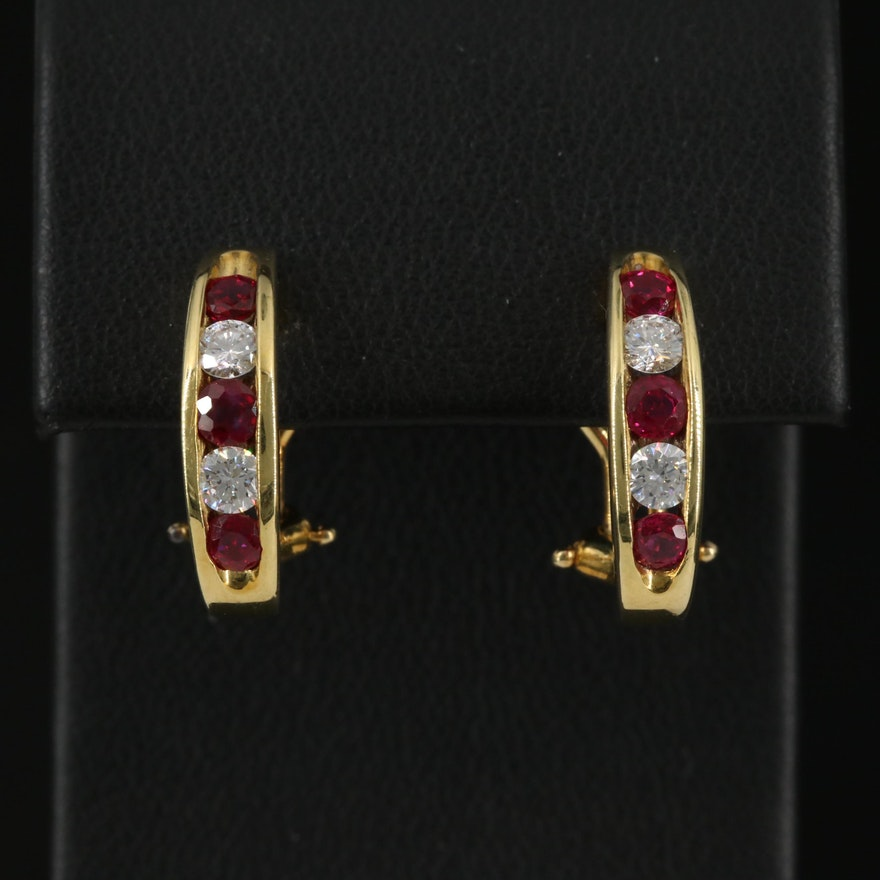 18K Channel Set Ruby and Diamond J Hoop Earrings