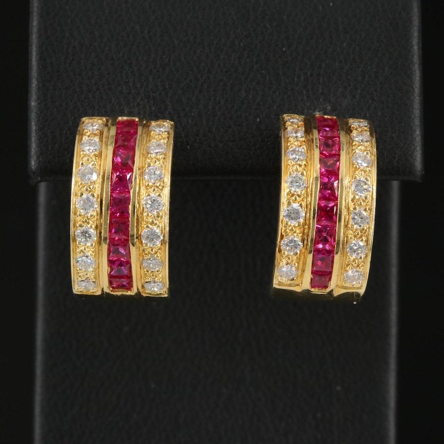 18K Ruby and Diamond J Hoop Earrings
