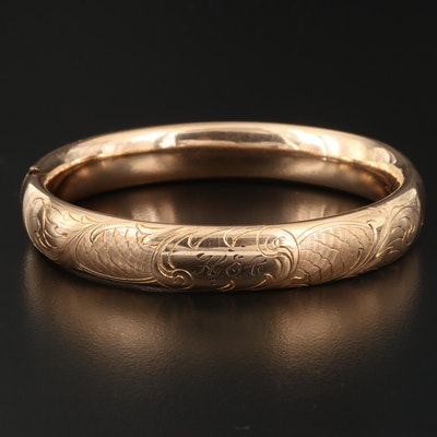 Vintage Oval Hinged Bangle with Etched Flowers