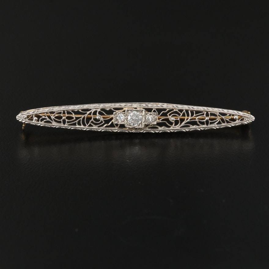 Circa 1920 Krementz 14K Diamond Filigree Bar Brooch with Platinum Top