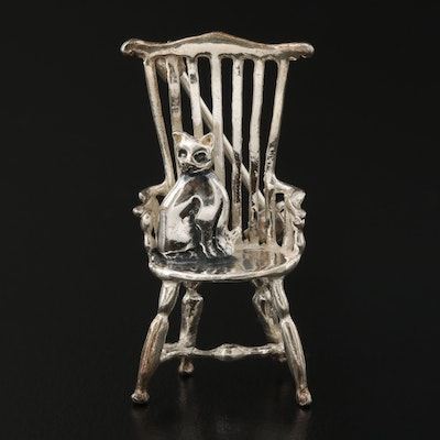 Sterling Cat On a Chair Brooch