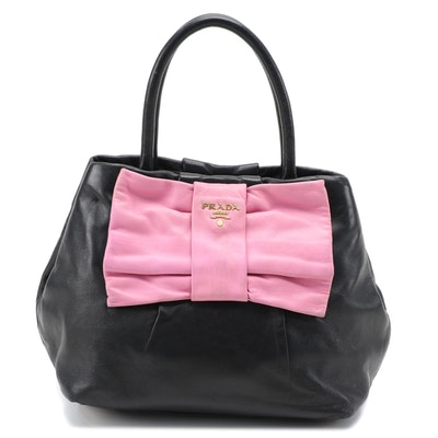 Prada Fiocco Bow Two-Way Satchel in Pink and Black Leather