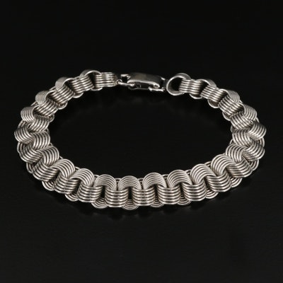 Sterling Silver Multi Circle Link Bracelet