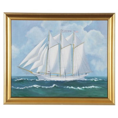 Oil Painting of a Sailboat at Sea, 20th to 21st Century