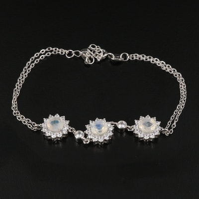 Sterling Silver Rainbow Moonstone and Cubic Zirconia Bracelet