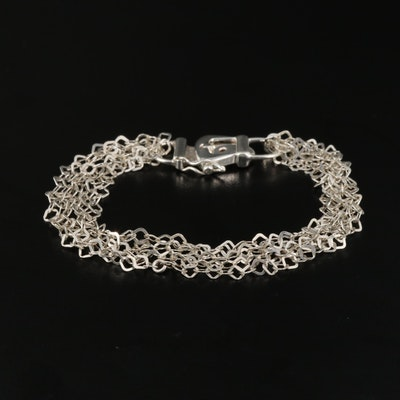 Sterling Silver Multi Strand Buckle Bracelet