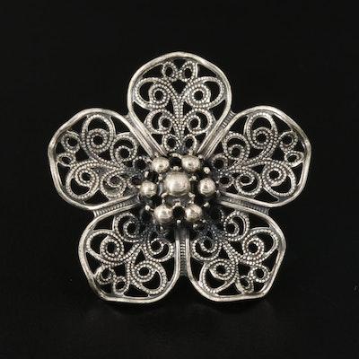 Beau Sterling Openwork Floral Brooch
