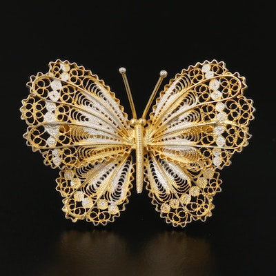 Alioto Adriana Sterling Silver Filigree Butterfly Brooch