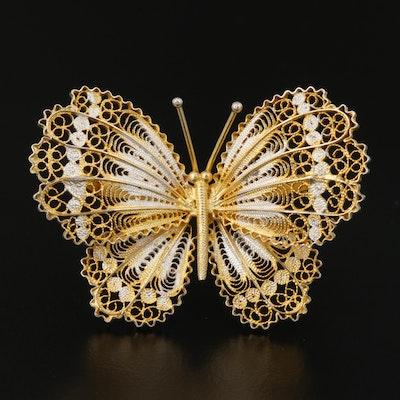 Alioto Adriana Sterling Silver Filigree Butterfly Brooch