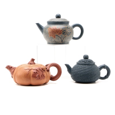 Chinese Yixing Pumpkin, Basketweave and Other Teapot, Late 20th Century