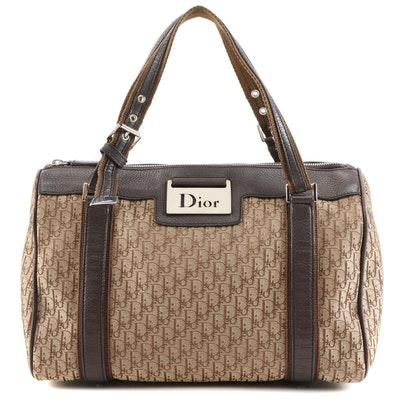 Christian Dior Diorissimo Canvas and Brown Grained Leather Top Handle Bag