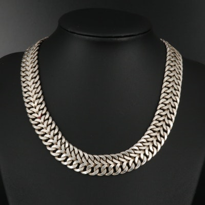 Sterling Silver Woven Link Collar Necklace