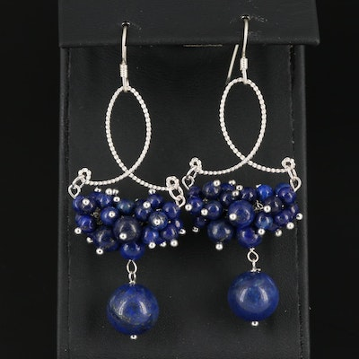 Sterling Silver Lapis Lazuli Cluster Dangle Earring