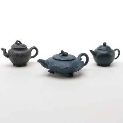 Chinese Lily Pad with Frog and Other Yixing Ware Teapots, 20th Century