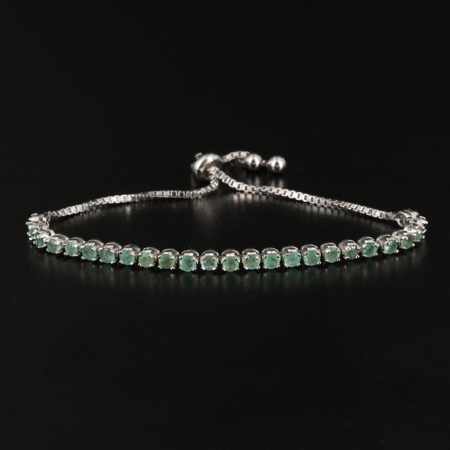 Sterling Silver Emerald Line Bolo Bracelet
