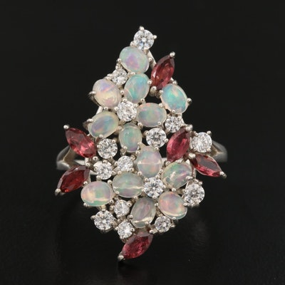 Sterling Silver Opal, Rhodolite Garnet and Cubic Zirconia Floral Cluster Ring