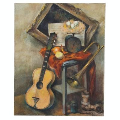 Jaques Zuccaire Still Life Oil Painting of Musical Instruments, 20th Century