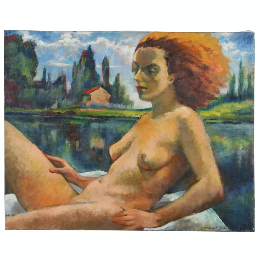 Jaques Zuccaire Oil Painting of Nude Figure at Lake, 20th Century