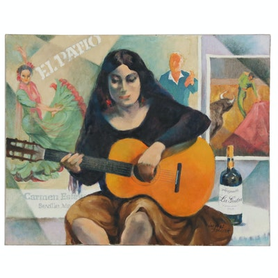 Jaques Zuccaire Oil Painting of Guitarist, 20th Century