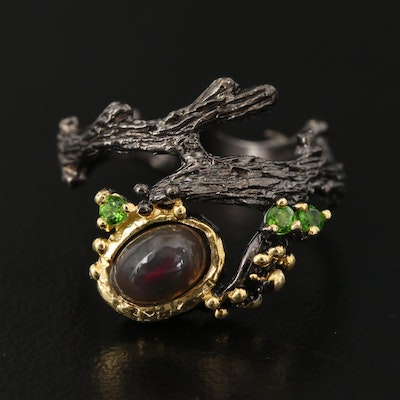 Sterling Silver Opal and Diopside Branch Ring