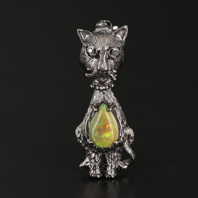 Sterling Silver Opal and Sapphire Cat Brooch