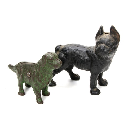 Cast Iron Dog Form Coin Banks, Late 19th Century