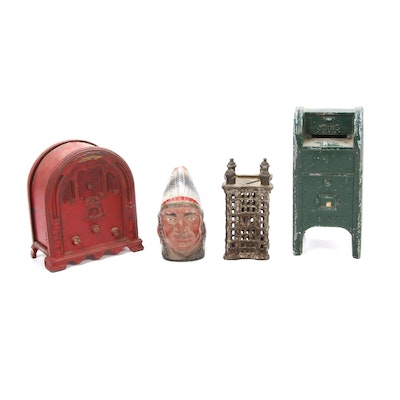 Yesteryear Penny Banks and Mystery Coins, Featuring Kenton Cast Iron Jukebox