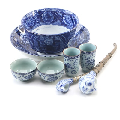 Asian Porcelain Sake Accessories with Tobacco Pipes and Serveware