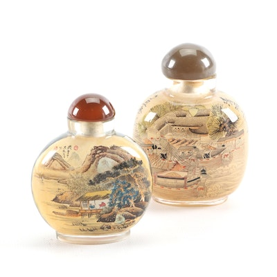 Chinese Reverse Painted Glass Snuff Bottles, 20th Century