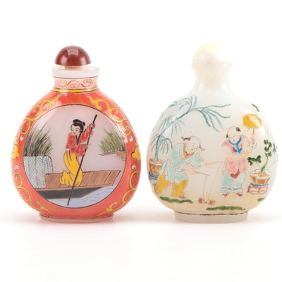 Chinese Hand-Painted Glass Snuff Bottles, 20th Century